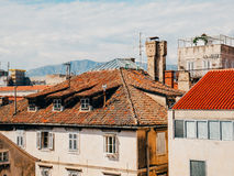 Orange tiles on roof. Croatian architecture Stock Image