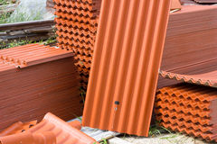 Orange tiles. For roof  home coverings Royalty Free Stock Photography
