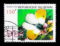 Orange Tip (Anthocharis cardamines), Butterfly serie, circa 1998. MOSCOW, RUSSIA - MARCH 18, 2018: A stamp printed in Benin shows Orange Tip (Anthocharis royalty free stock image