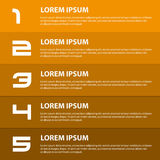 Orange to brown modern design business horizontal banners with numbers eps10 Royalty Free Stock Photography