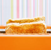 Orange toaster with two slices of bread Stock Photo