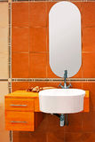 Orange toilet Stock Photo