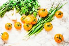 Orange tomater, saftiga sommargrönsaker och gräsplaner, bästa sikt Fotografering för Bildbyråer