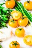 Orange tomater, saftiga sommargrönsaker och saftiga gräsplaner som är valda Arkivbilder