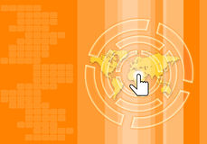 Orange tone abstract technology background. With hand pointer Royalty Free Stock Photography