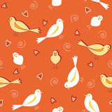 Orange tones with white birds seamless pattern Royalty Free Stock Image