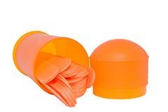 Orange tongue depressors royalty free stock image