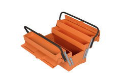 Orange tool box. Isolated on white background Stock Images