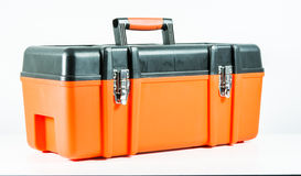 Orange toolbox isolated Stock Photography