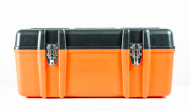 Orange toolbox isolated Stock Photo