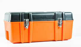 Orange toolbox isolated Stock Photos