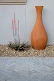 Orange Topf mit Aloe Stockfoto