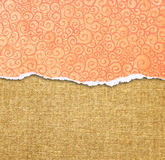 Orange torn paper edge with pattern over canvas background Royalty Free Stock Images