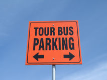 Orange tour bus parking sign Stock Images