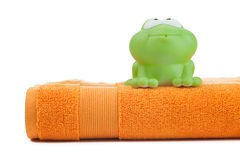Orange towel and toy frog Stock Image