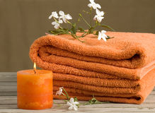 Orange towels with flowers Royalty Free Stock Images