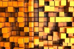 Orange Towers. 3D Orange Blocks Abstract Background Stock Photo