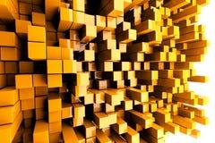 Orange Towers. 3D Orange Blocks Abstract Background Royalty Free Stock Photos