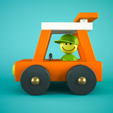Orange toy car  on blue background Royalty Free Stock Photography