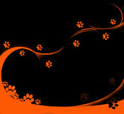 Orange tracks. Background with orange cat's tracks Stock Photo