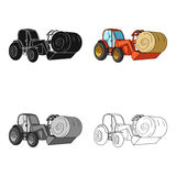 Orange tractor with a ladle transporting hay bale. Agricultural vehicles.Agricultural Machinery single icon in cartoon Royalty Free Stock Photos