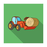 Orange tractor with a ladle transporting hay bale. Agricultural vehicles.Agricultural Machinery single icon in flat Stock Photos
