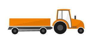 Orange tractor with a trailer. Agricultural machinery Stock Image