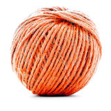 Orange traditional clew, sewing yarn ball isolated on white background Royalty Free Stock Images