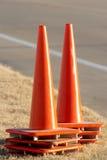 Orange Traffic Cones. Set of orange cones Stock Photo