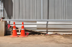 Orange traffic-cones around construction-area in front of corrug Stock Photography