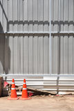 Orange traffic-cones around construction-area Stock Photo