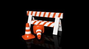 Orange traffic cones and barrier Stock Image