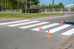 Orange traffic safety cones barriers on the street protect fresh white paint on the pedestrian crosswalk.  Stock Photos