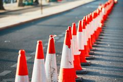 Orange trafikkottar Royaltyfria Bilder