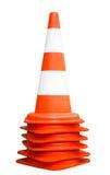 Orange trafikkottar Inklusive bana Arkivfoton