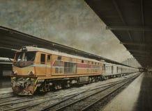 Orange train, black and white background Royalty Free Stock Photo