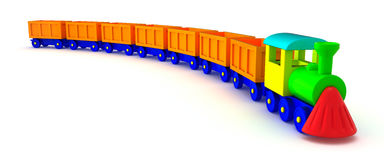 Orange train tail. Toy train with orange tail isolated on the white background Stock Image