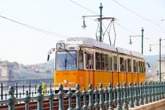 Orange tram in Budapest Royalty Free Stock Images