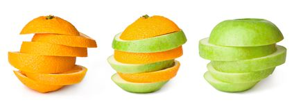 Orange transforming to apple Stock Photo