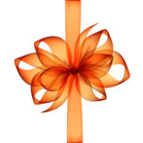 Orange Transparent Bow and Ribbon Top View Close up Isolated on White Background Stock Photo