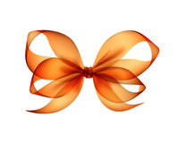 Orange Transparent Bow Top View on Background Stock Image