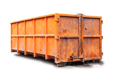 Orange trash container isolated on white Stock Photography