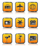 Orange travel icon luggage airplane palm coctail Royalty Free Stock Photo