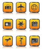 Orange travel icon luggage airplane palm coctail Royalty Free Stock Photo