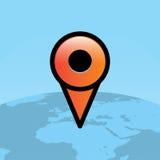 Orange Travel Map Pin Over World Globe Illustration Stock Images