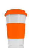Orange travel mug Stock Photo
