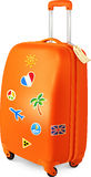Orange travelling baggage suitcase with stickers. Orange travelling baggage vector suitcase with stickers Royalty Free Stock Photos