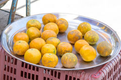 Orange in the tray stainless steel on street food Stock Photos