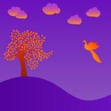 Orange tree and bird on violet background, vector illustration Stock Image
