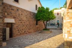 Orange tree. Growing among stone wall of Greek temple Royalty Free Stock Photography